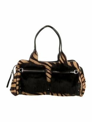 Salvatore Ferragamo Leather-Trimmed Gancio Shoulder Bag Brown