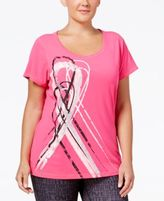 Ideology Plus Size Pink Ribbon Graphic T-Shirt, Only at Macy's