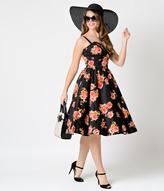 Stop Staring 1950s Pin-Up Black Digital Floral Arana Swing Dress
