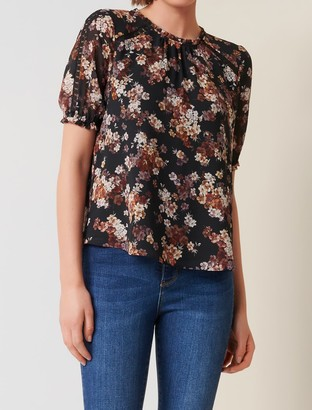 Forever New Amelia Petite Lace-Splice Blouse - Overlaid Rust Floral - 4