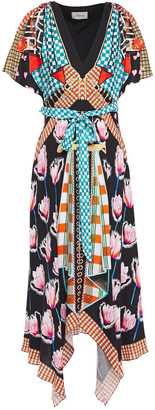 Temperley London Belted Printed Twill Midi Dress