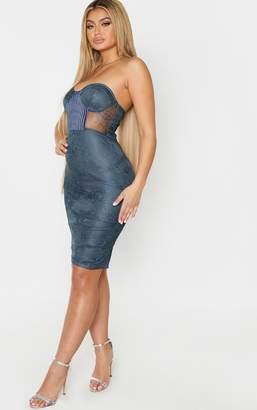 Pure Charcoal Blue Lace Bandeau Velvet Insert Midi Dress