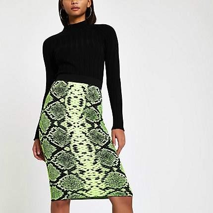 River Island Neon green snake print midi skirt
