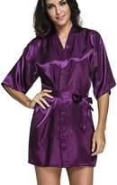 FLYCHEN Women's Satin Robe Short Kimono Lounge Bridesmaid