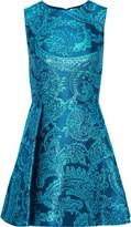 Alice + Olivia Stasia Pleated Metallic Brocade Mini Dress