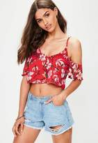 Missguided Red Button Through Floral Print Bardot Cami Top