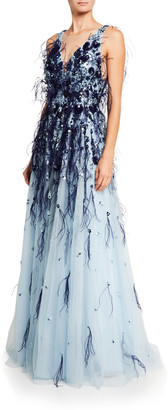 Pamella Roland Flower-Sequined Tulle Gown with Feather Trim
