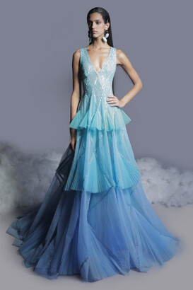GEORGES HOBEIKA Ruffled Beaded Tulle Gown
