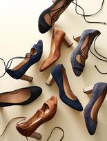 Talbots Hillary Ankle-Tie Peep-Toe Pumps-Suede