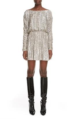 Saint Laurent Sequin Long Sleeve Minidress