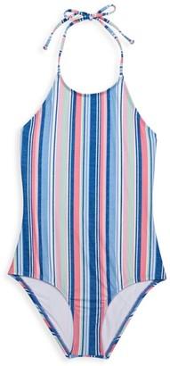 Splendid Girl's Holding Pattern Stripe One-Piece Swimsuit