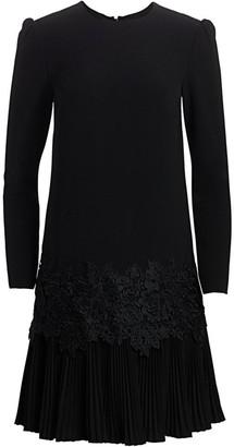 Lela Rose Fluid Crepe Pleat-Hem Tunic Dress
