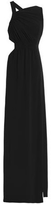 Halston Cutout Ruched Crepe Gown