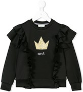 Fendi glittery crown ruffled sweatshirt