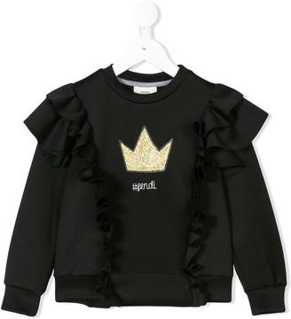 Fendi Glittery Crown Ruffled Sweatshirt