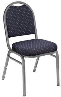 National Public Seating NPS 9200 Series Premium Fabric Upholstered Padded Stack Chair, Diamond Navy/Silvervein (2 Pack)