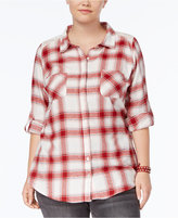 Planet Gold Trendy Plus Size Lace-Trim Plaid Shirt