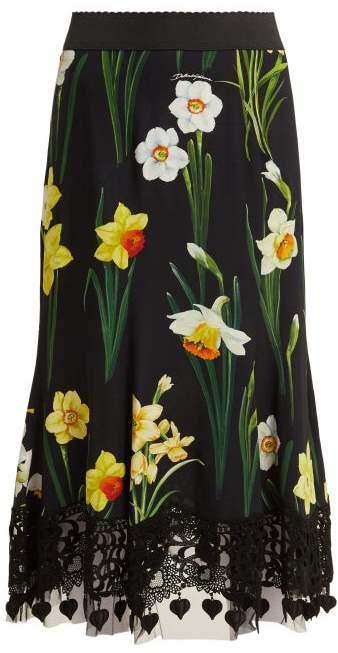 Dolce & Gabbana Daffodil Print Cady Midi Skirt - Womens - Black Multi