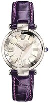 Versace Women's 'REVE' Swiss Quartz Stainless Steel and Leather Casual Watch, Color:Purple (Model: VAI070016)
