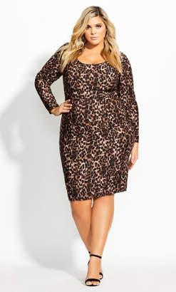 City Chic Animalistic Dress - ochre