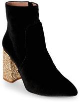 Betsey Johnson Black Kasey Glitter Heel Velvet Booties