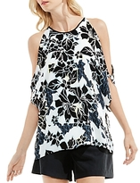 Vince Camuto Floral Print Cold-Shoulder Top