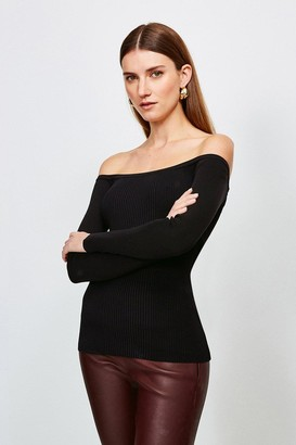 Karen Millen Long Sleeve Knitted Rib Bardot Top