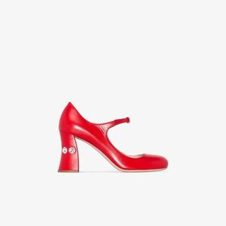 Miu Miu Red 85 Mary Jane Crystal-embellished heel pumps