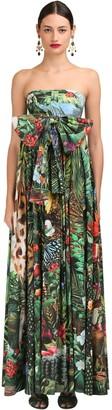 Dolce & Gabbana JUNGLE PRINTED POPLIN STRAPLESS DRESS