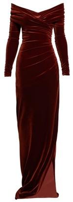 Alexandre Vauthier Off-the-shoulder Sweetheart Velvet Dress - Womens - Brown