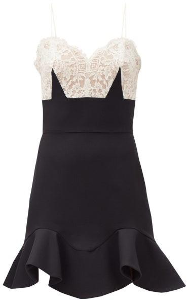 Alexander McQueen Lace And Silk Mini Dress - Black White