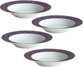Mikasa Parchment Cobalt Set of 4 Rim Soup Bowls