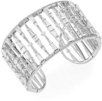 Adriana Orsini Cubic Zirconia & Rhodium-Plated Wide Cuff Bracelet