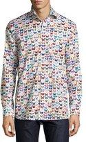 Eton Butterfly-Print Sport Shirt, Multicolor