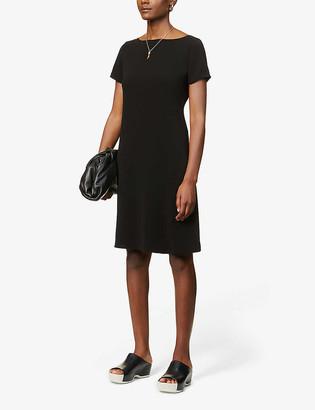 Theory Cap-sleeved flared crepe mini dress