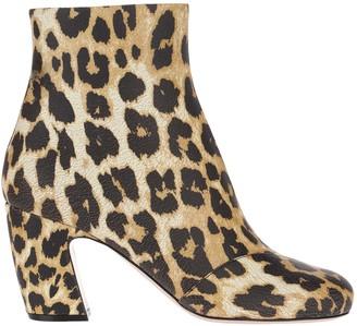 Miu Miu Leopard Print Ankle Boots