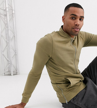 Asos Design DESIGN Tall muscle jersey bomber jacket in light khaki with silver side zips-Green