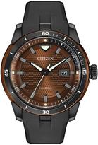 Citizen Brown & Black Rubber-Strap EcoSphere Bracelet Watch - Men