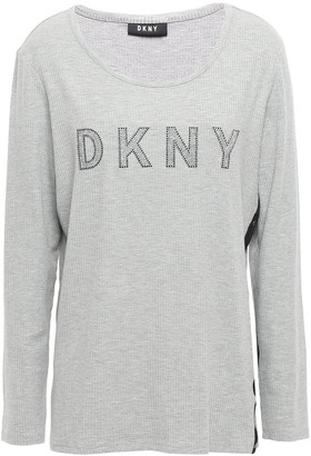 DKNY Crystal-embellished Melange Stretch Ribbed-knit Top