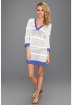 Tommy Bahama Open Weave Beach Sweater (White/Periwinkle) - Apparel