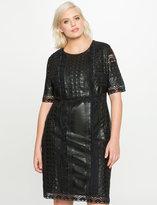 ELOQUII Plus Size Eyelet Faux Leather Dress