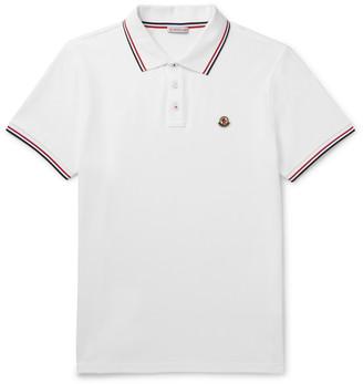 Moncler Logo-Appliqued Contrast-Tipped Melange Cotton-Pique Polo Shirt