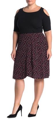 Leota Mae Dot Print Knee-Length Skirt (Plus Size)