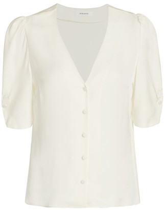 Frame Olivia V-Neck Silk Blouse