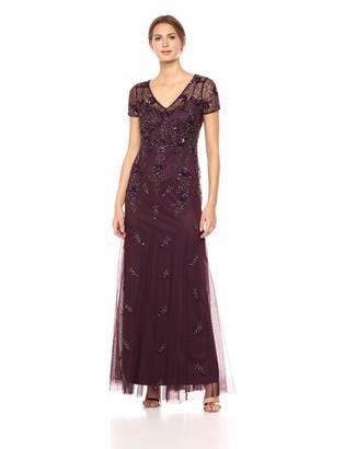Adrianna Papell Women's Short Sleeve Godet Beaded Long Dress