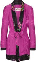 Etro Belted Satin-jacquard Jacket - Fuchsia