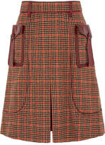 Prada Leather-trimmed Checked Wool-blend Tweed Skirt - Orange