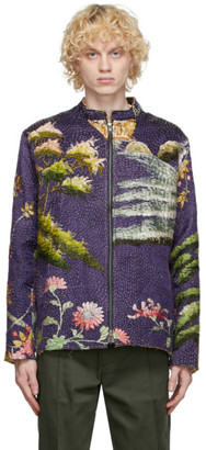 By Walid SSENSE Exclusive Purple Chinese Embroidery Classic Jacket