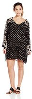 Angie Juniors' Plus-Size Black Printed Bell-Sleeve Dress