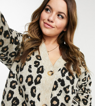 New Look Plus New Look Curve button-through animal print cardigan in brown pattern